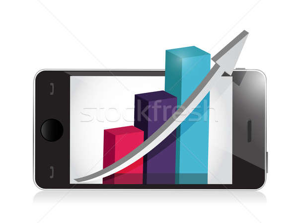 manage your business on your phone. illustration design over whi Stock photo © alexmillos