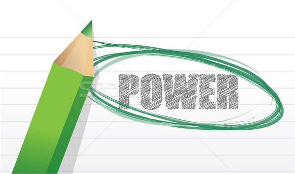 pencil and word 'power'. Illustration design over white Stock photo © alexmillos