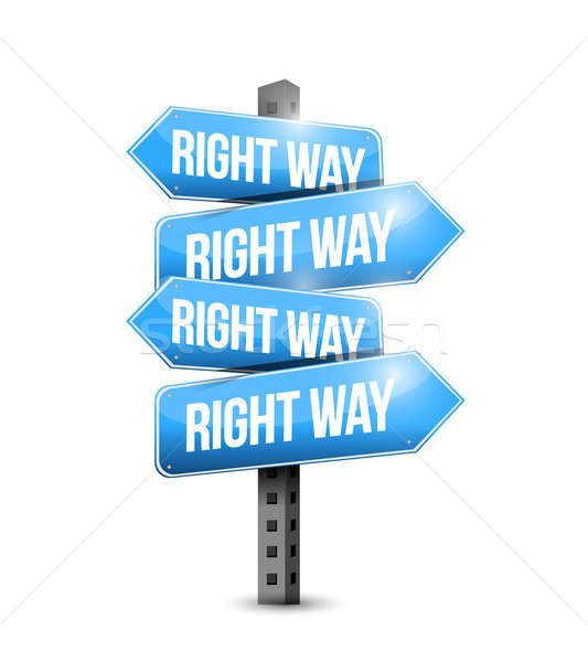 right way road sign illustration design over white Stock photo © alexmillos