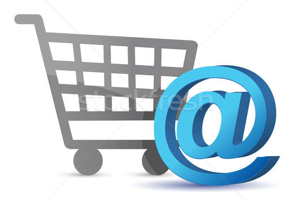 E-mail sign an shopping cart illustration design over white Stock photo © alexmillos