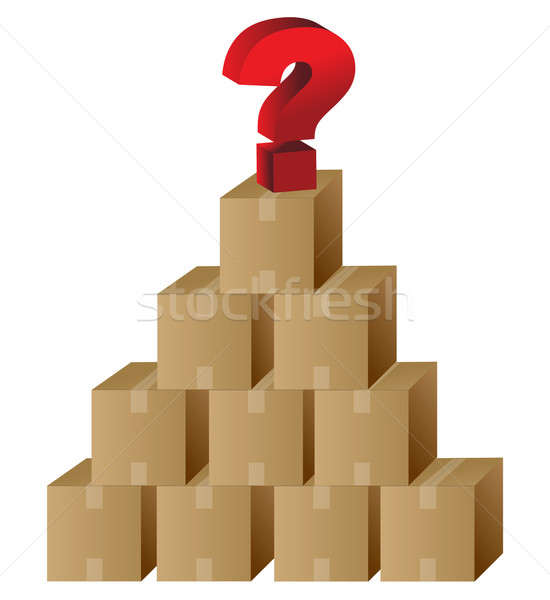 Boxes and a question mark in top Stock photo © alexmillos