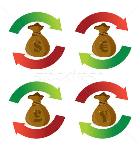 Valuta soldi borse ciclo arrow segni Foto d'archivio © alexmillos