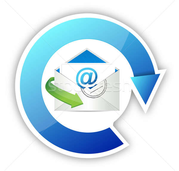 Teken web Blauw mail sleutel Stockfoto © alexmillos