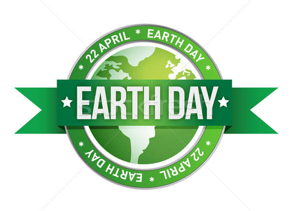 Stock photo: Earth day written inside the stamp