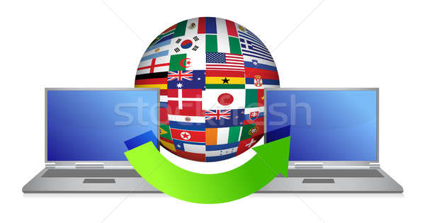 File transfer around the globe  Stock photo © alexmillos