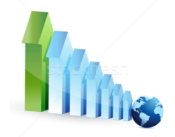 Arrows graph and globe illustration design over white Stock photo © alexmillos
