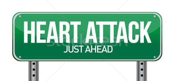 сердечный приступ зеленый дорожный знак дороги Billboard больным Сток-фото © alexmillos