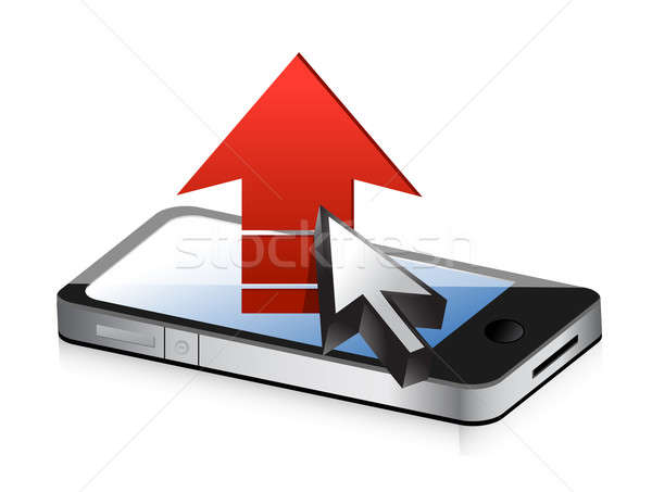 Smartphone with red arrow. upload concept Stock photo © alexmillos