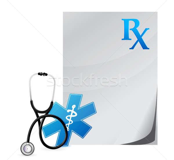 Médico prescrição estetoscópio ilustração projeto branco Foto stock © alexmillos