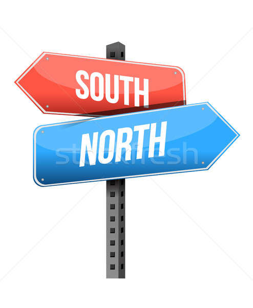 south, north road sign Stock photo © alexmillos