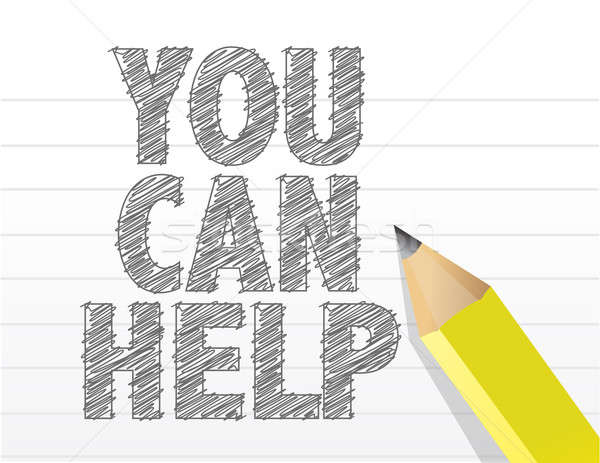 you can help text sign illustration design Stock photo © alexmillos