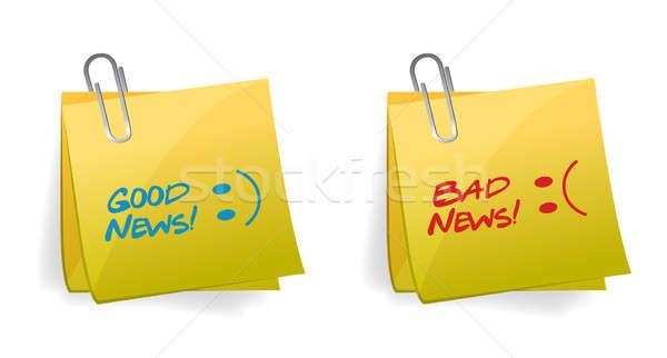 Buena malas noticias ilustración diseno blanco sonrisa Foto stock © alexmillos