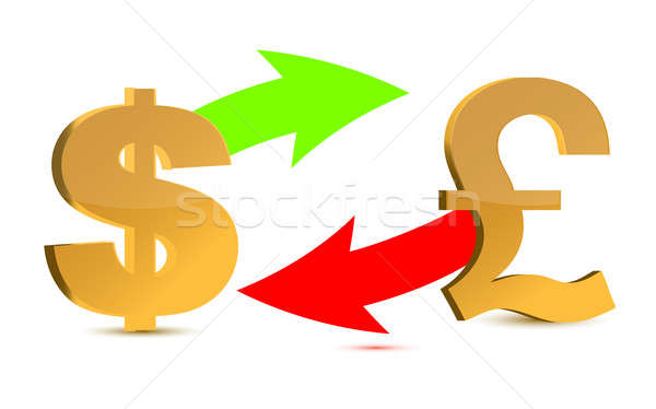 Currency exchange. Dollar and pound sterling isolated on white Stock photo © alexmillos