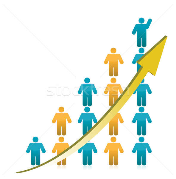 people Graph Showing Growth illustration Stock photo © alexmillos