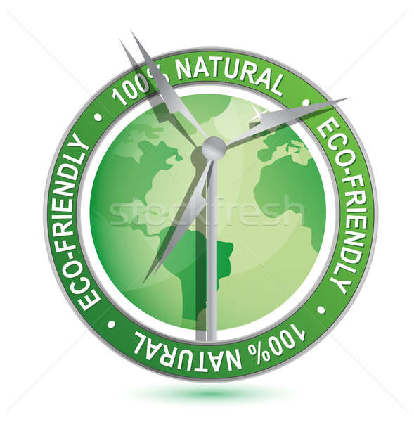 Wind power Eco-friendly sign and symbol isolated over a white ba Stock photo © alexmillos