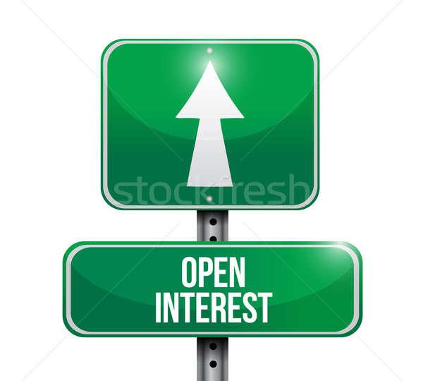 open interest road sign illustration design over white Stock photo © alexmillos