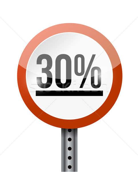 30 процент дорожный знак иллюстрация дизайна белый Сток-фото © alexmillos
