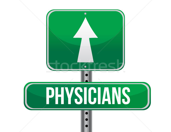 physicians road sign illustration design over a white background Stock photo © alexmillos
