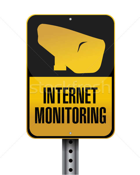 Internet ellenőrzés jelzőtábla illusztráció terv fehér Stock fotó © alexmillos