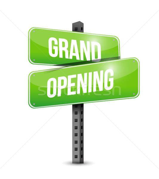 grand opening road sign illustration design over a white backgro Stock photo © alexmillos