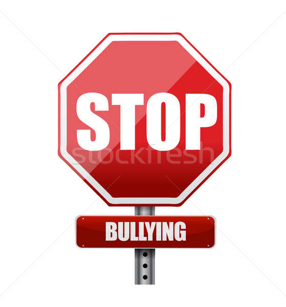 stop bullying sign illustration design over white Stock photo © alexmillos
