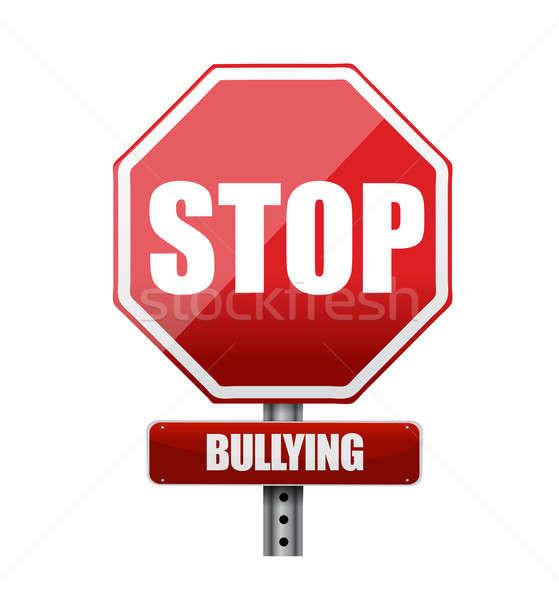 Stop megfélemlítés felirat illusztráció terv fehér Stock fotó © alexmillos