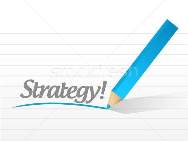 стратегия написанный белый кусок бумаги иллюстрация Сток-фото © alexmillos