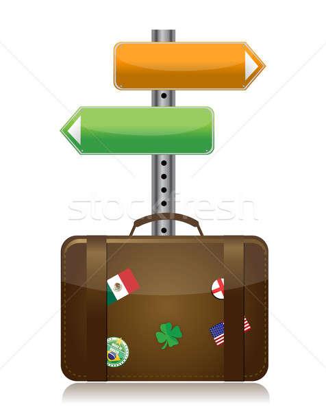 suitcase with destination sign illustration design over white Stock photo © alexmillos
