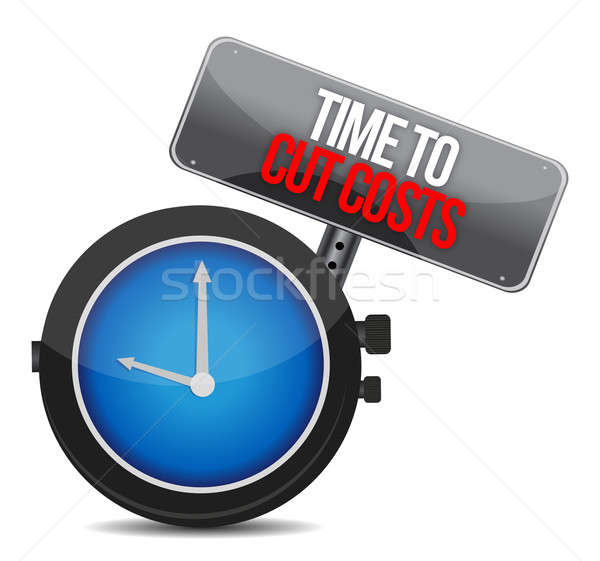 clock with words time to cut costs illustration design Stock photo © alexmillos