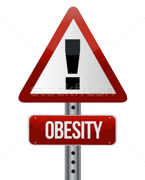 road traffic sign with an obesity concept illustration design Stock photo © alexmillos