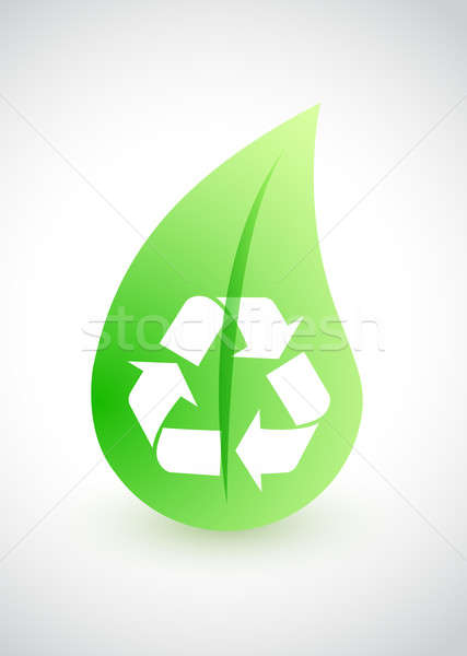 Recycling - environmental conception with leaf illustration desi Stock photo © alexmillos
