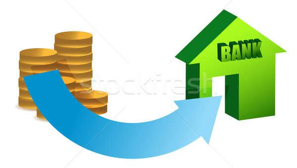 Dinero banco ilustración diseno blanco edificio Foto stock © alexmillos
