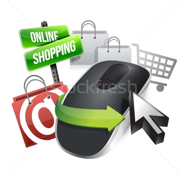 Stockfoto: Online · winkelen · draadloze · computermuis · geïsoleerd · witte · muis