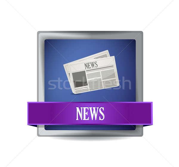 újság ikon gomb illusztráció terv fehér Stock fotó © alexmillos
