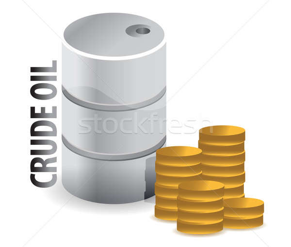 crude oil and coins currency illustration design over white Stock photo © alexmillos