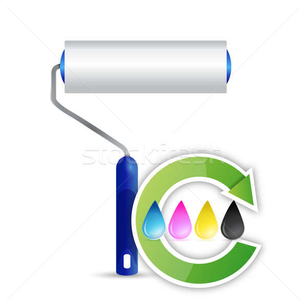 paint roller and cmyk color cycle illustration design over a whi Stock photo © alexmillos