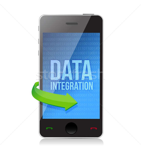 smartphone with word Data Integration on display illustration de Stock photo © alexmillos