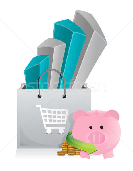 shopping with savings illustration design over a white backgroun Stock photo © alexmillos