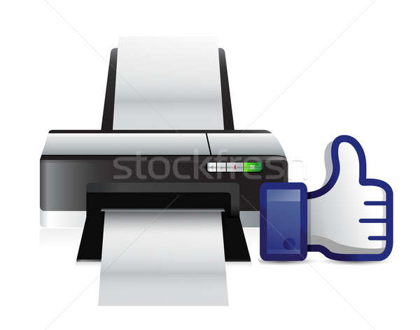 printer thumbs up like illustration design over white Stock photo © alexmillos