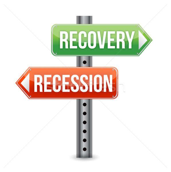 Recesszió gyógyulás jelzőtábla illusztráció terv fehér Stock fotó © alexmillos