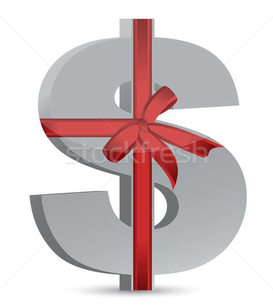 dollar currency symbol and ribbon illustration design over white Stock photo © alexmillos