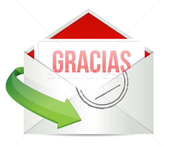 Obrigado gratidão cartão envelope espanhol carta Foto stock © alexmillos