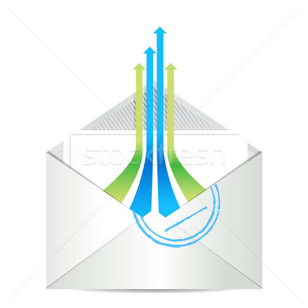 Stock photo: E-mail icon. Envelope mail with leader arrows