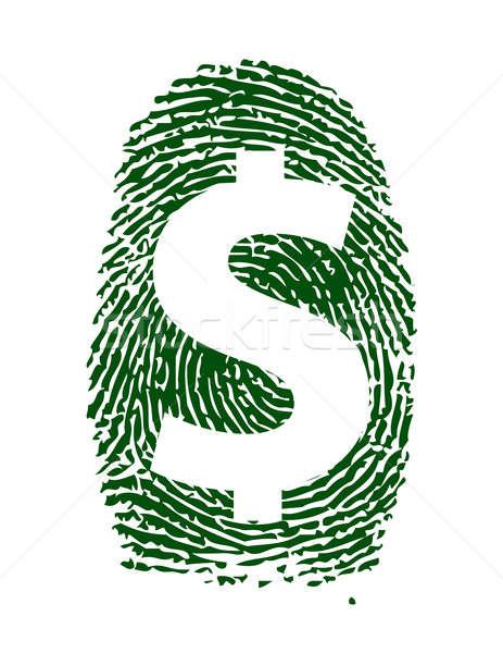 Dollarteken vingerafdruk illustratie ontwerp teken macht Stockfoto © alexmillos