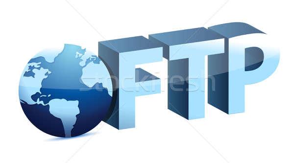 мира ftp иллюстрация дизайна белый сеть Сток-фото © alexmillos