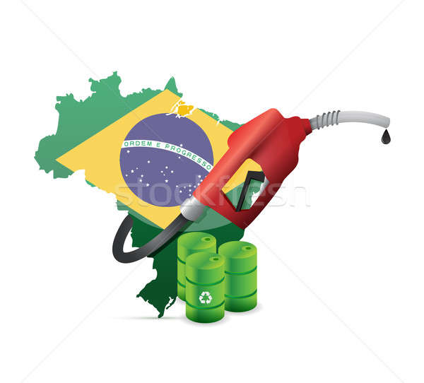 Brazil alternative fuel with a gas pump nozzle  Stock photo © alexmillos