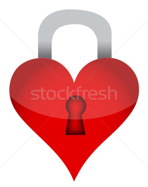 Heart lock illustration Stock photo © alexmillos