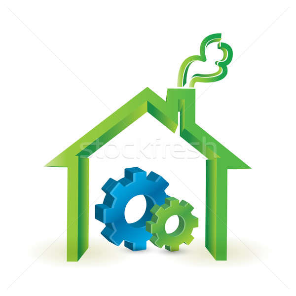 House and industrial gears. illustration design  Stock photo © alexmillos