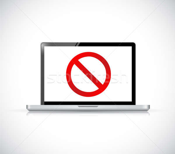 Computer with a negative sign. Dont. Stock photo © alexmillos