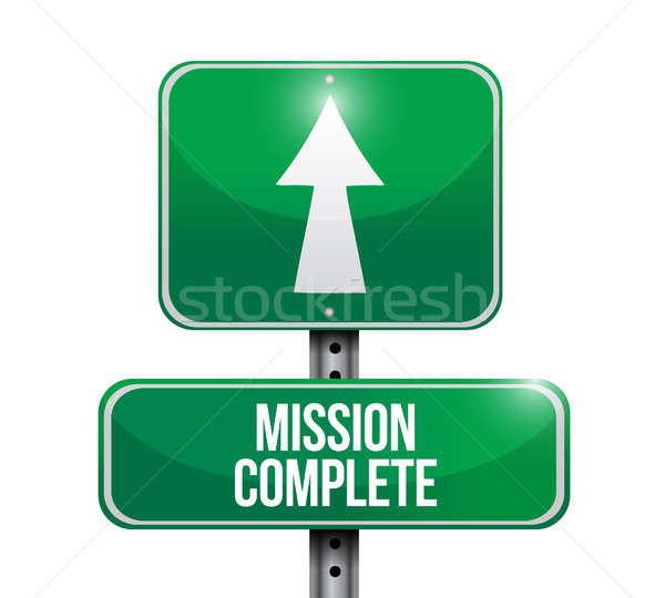 mission complete road sign concept Stock photo © alexmillos